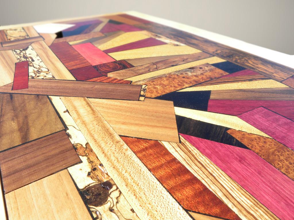 inlay blanket box top exotic wood