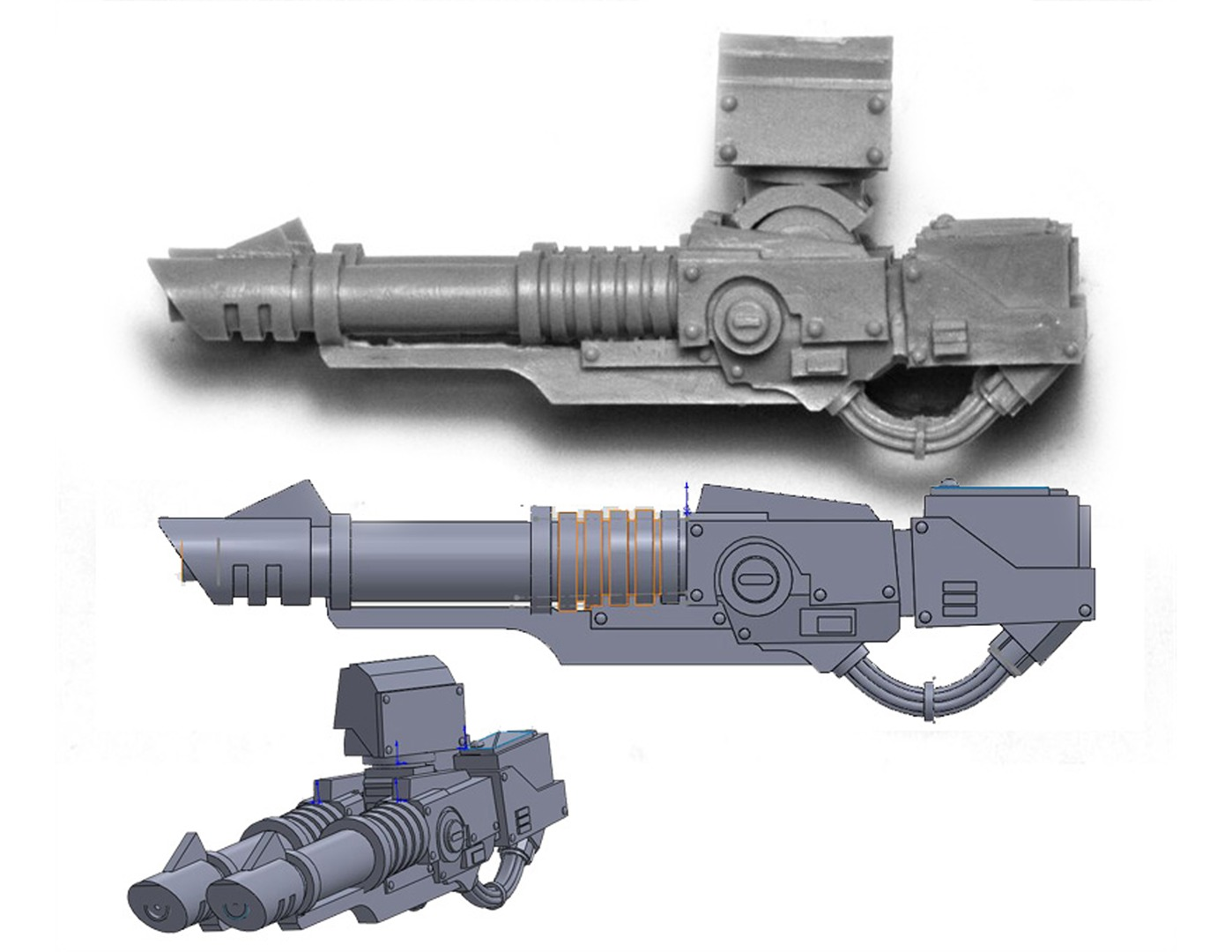 lascannon 3d model solidworks