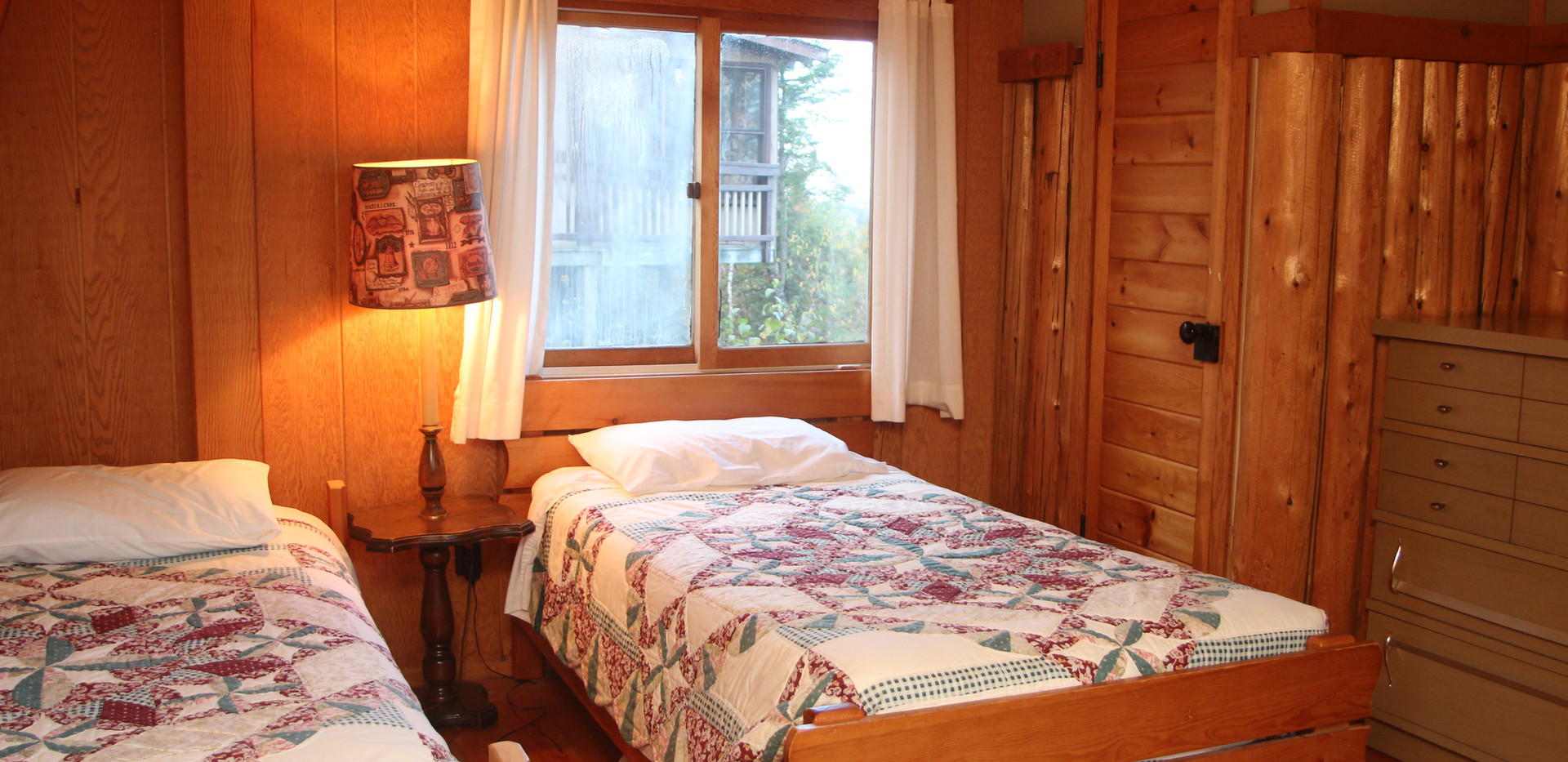 Split loft with single beds.