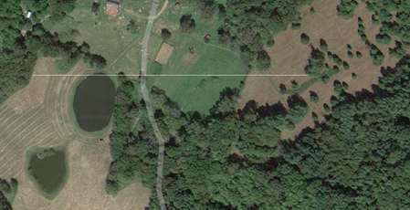 Aerial schematic of the 1100ft line of solar lights within the landscape of Yellow Bird