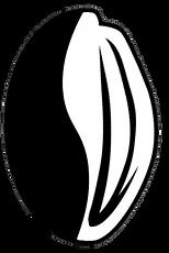 Logotipo Cafau, o café com cacau. Imagem mostra uma mescla de semente de café e amêndoa de cacau