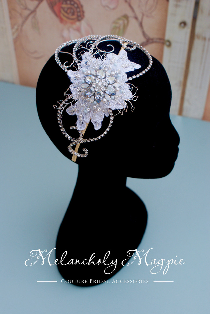 Ophelia Grace hair piece with white lace and blue shade crystal