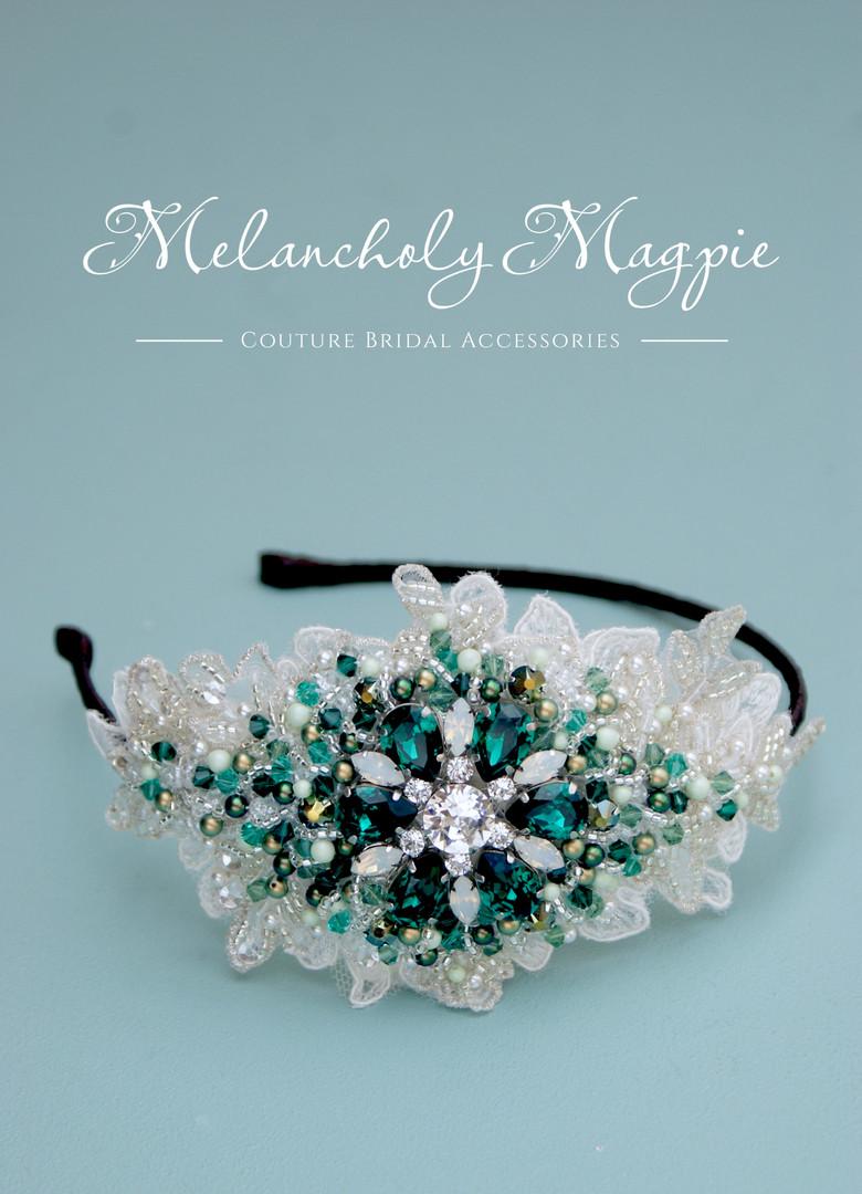 Bespoke emerald and opal Claudette side tiara