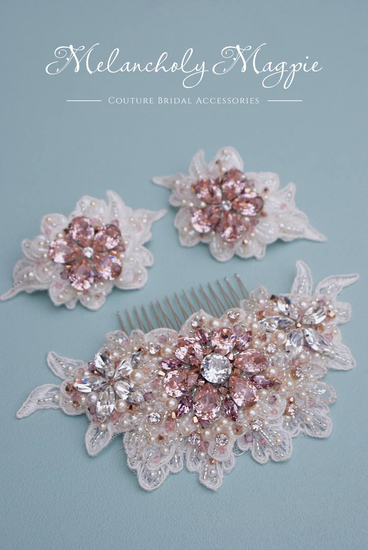 Claudette hair piece and shoe clips set