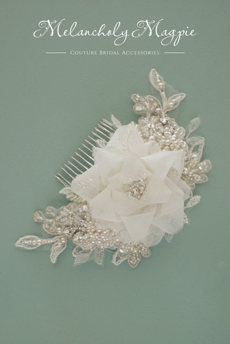 Tulle flower on lace