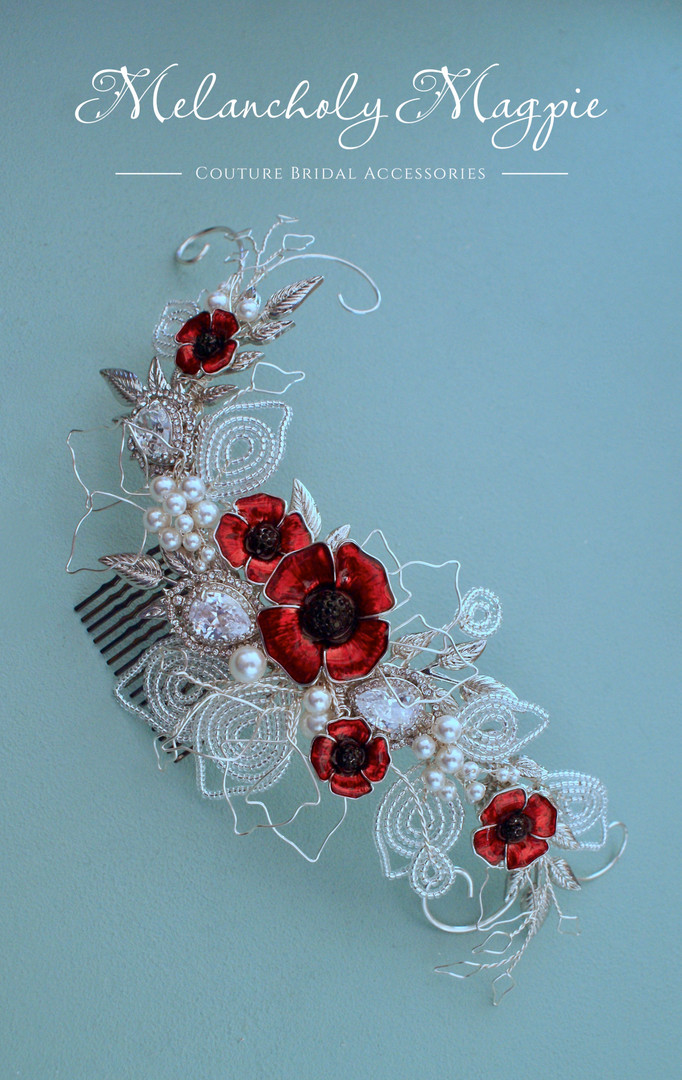 Poppy themed bespoke comb