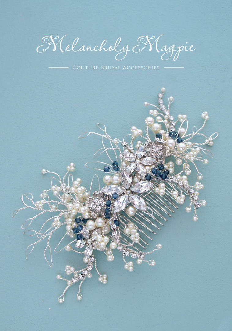 Bespoke comb with cream pearls and navy montana crystal accents