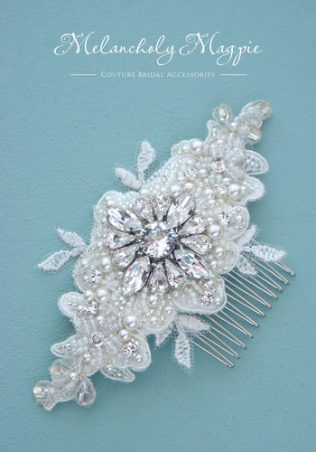 "5"" geometric crystal lace hair comb"