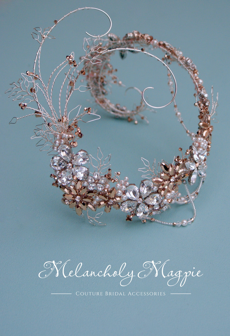 Rose gold and white crystal bespoke hair piece