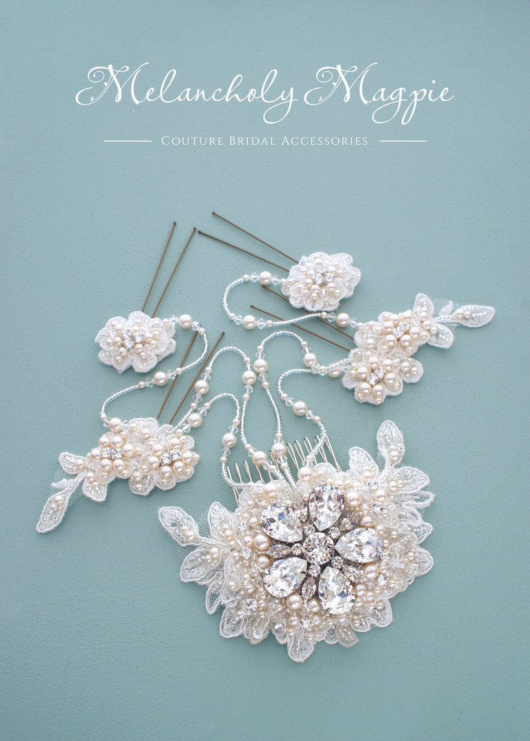Ivory Claudine with cream pearls