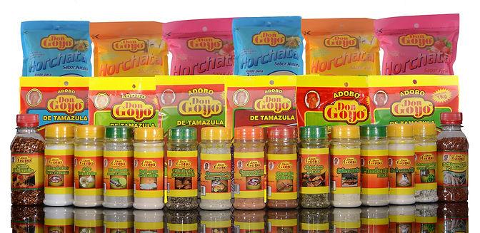 productos de marca Adobo Don Goyo, adobos szonadore, escias y horchatas