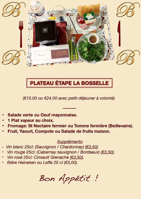 Plateau repas Hotel La Bosselle
