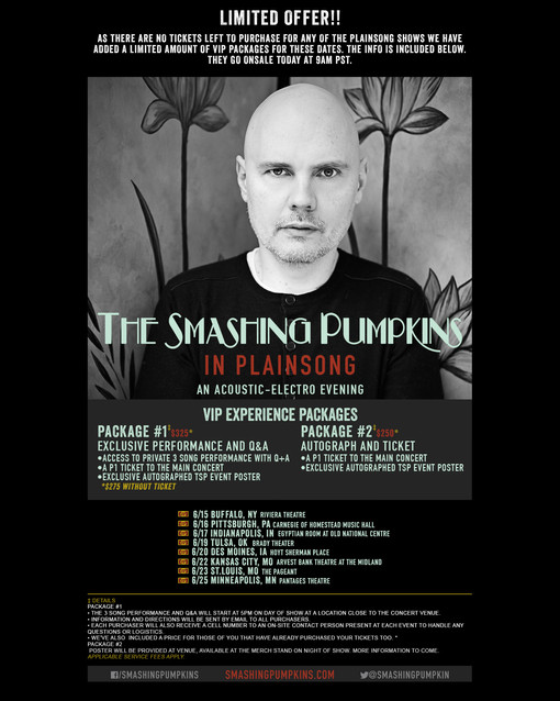 "VIP PACKAGES for The Smashing Pumpkins ""In Plainsong; An Acoustic-Electo Evening"" (Limited"