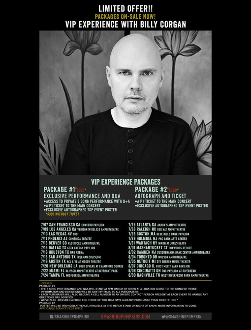 THE SMASHING PUMPKINS VIP EXPERIENCE NOW AVAILABLE!