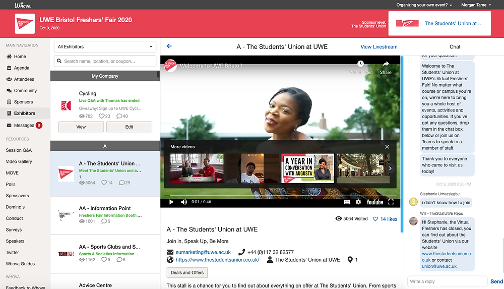 screenshot of the whova platform