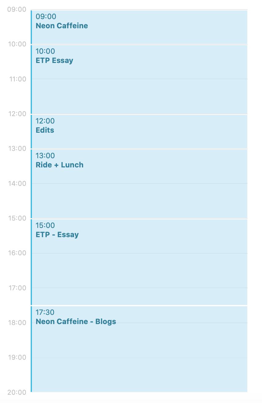 A calendar listing a 9am to 8pm schedule