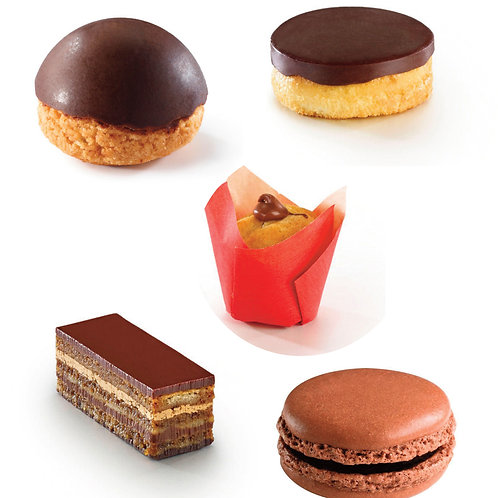 Assortiment de 5 petits fours au chocolat