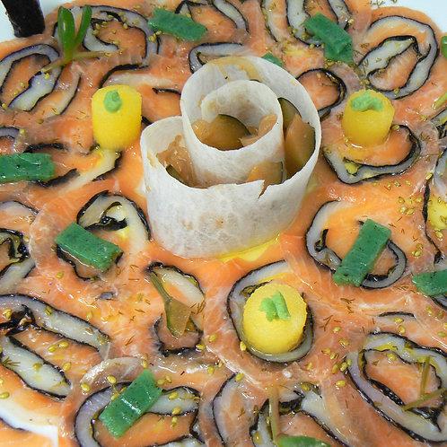 Déroulé de saumon et espadon, marinade au yuzu