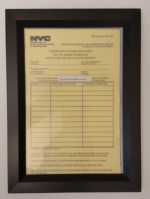 Hpd Certificate Of Inspection Visits Frame 6 X 9 Black Heavy Duty