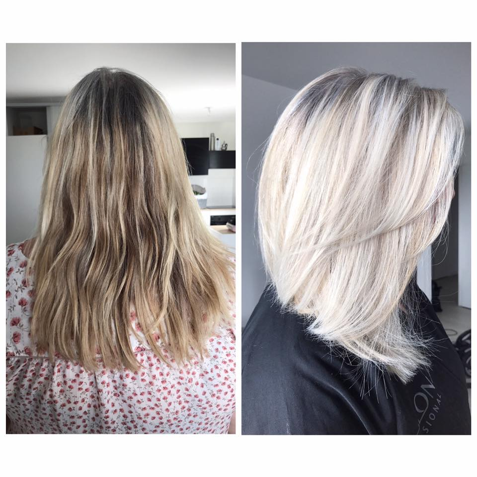 Coupe décoloration gloss blond froid