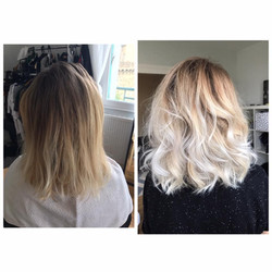 Coupe ombre hair blond blanc