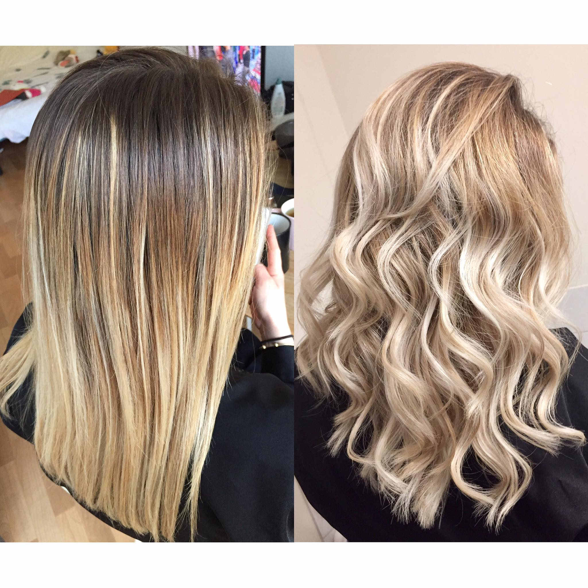 Coupe balayage blond glacé