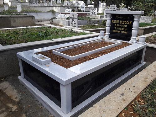 tek kişilik sutunlu gövdeve baştaşı grenit mezar