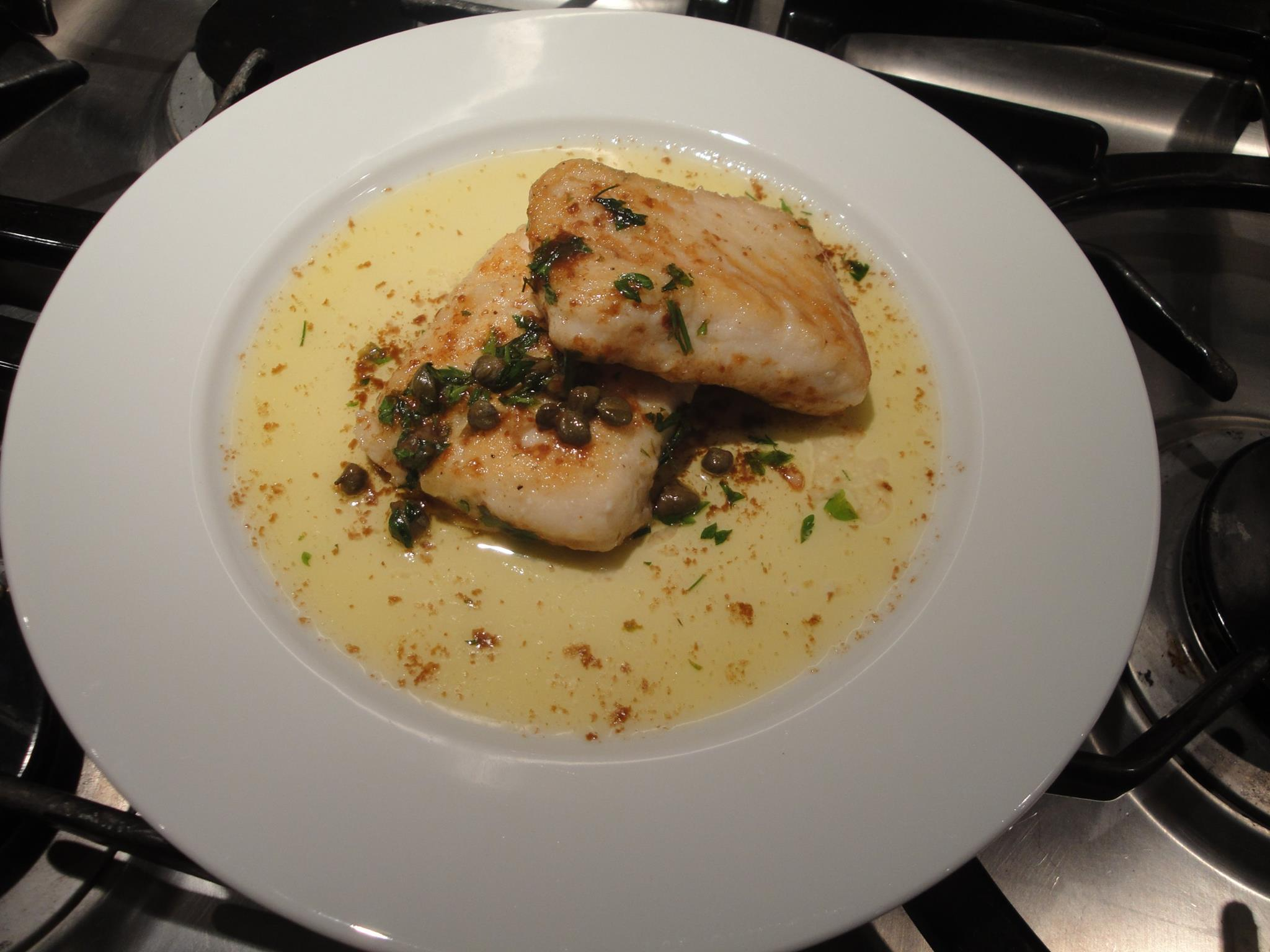 Cod with capers and lemon butter