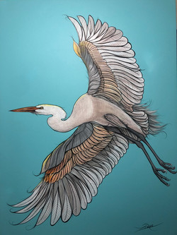 Great Egret Painting on Canvas