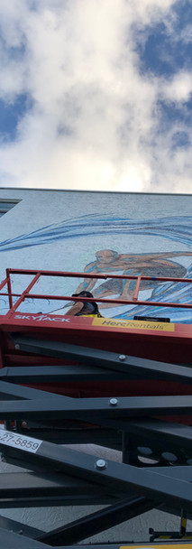 Exterior mural for condo client in Cocoa Beach, FL by DaveL. 2021.