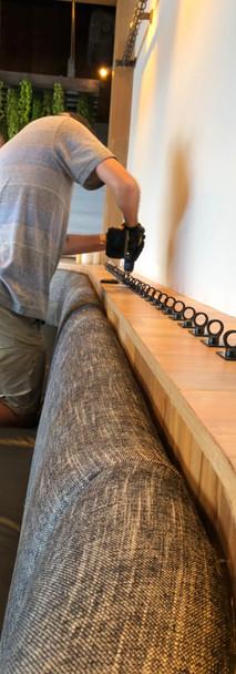 In progress hardware installation for fiber art install for hotel client in Scottsdale, Arizona, by DaveL. 2021.