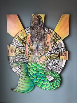 Mermaid Cutout on Wood