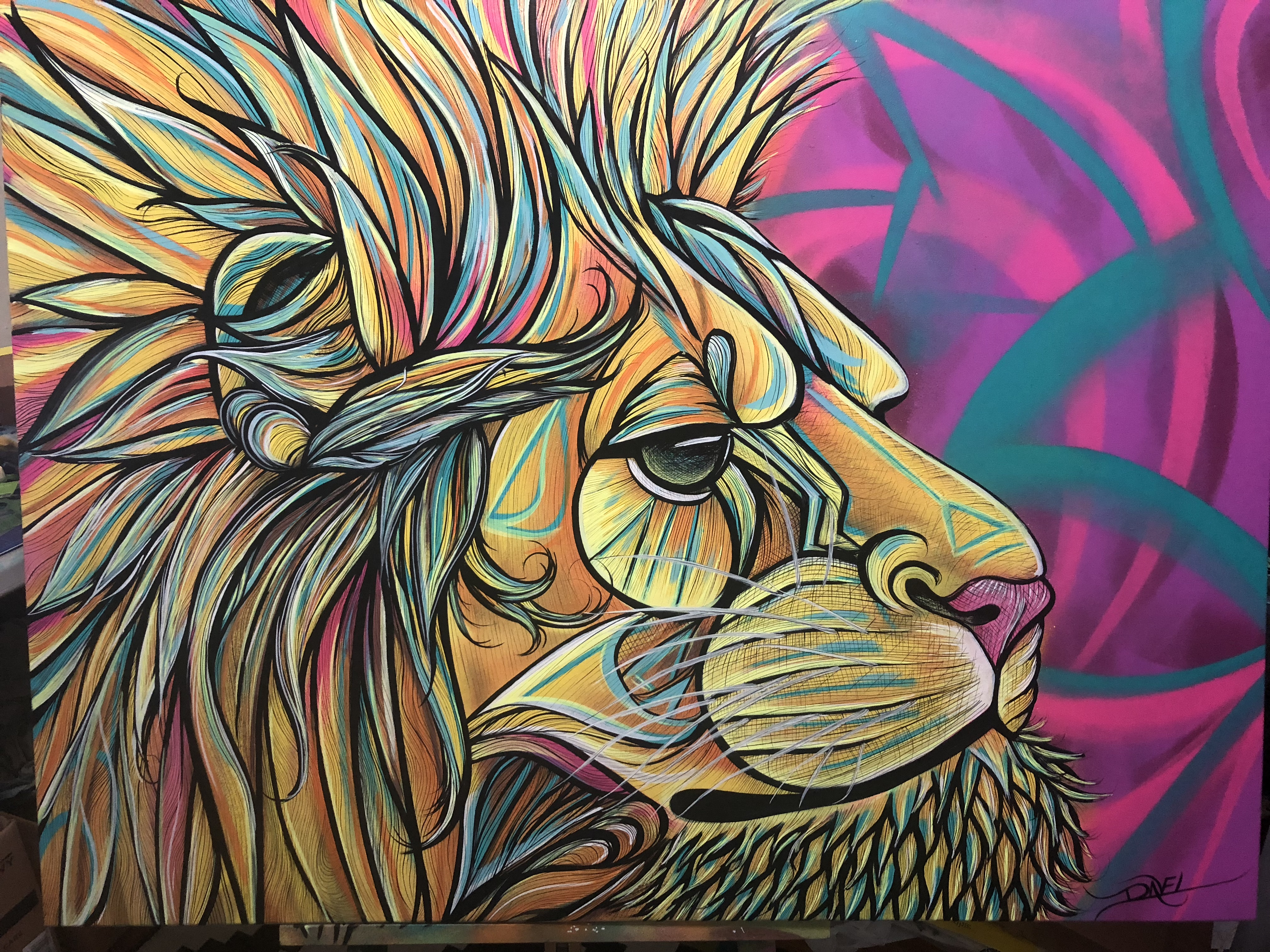 Lion Painting on Canvas