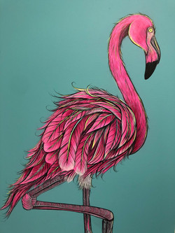 Pink Flamingo Painting on Canvas