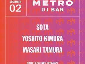 12/2 Wed.  METRO DJ BAR feat. TSUBAKI fm 公開放送