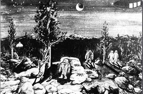 Shrum's drawing of the encounter as he experienced it