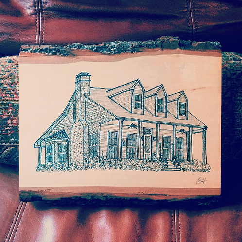 Custom Home Illustration on Wood
