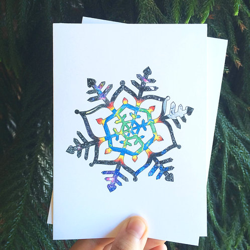 """Hand-drawn """"World Within"""" Snowflake Card (5 Pack)"""