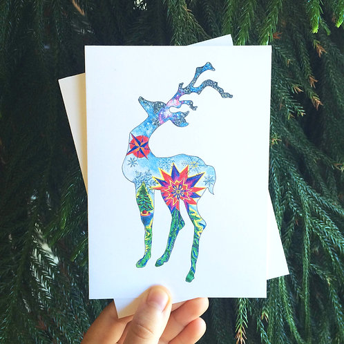 Hand-drawn Reindeer Holiday Card (5 Pack)
