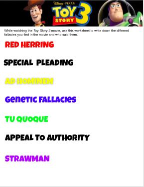Toy Story 3 Movie Fallacies Worksheet