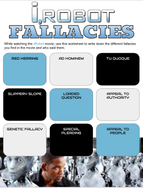 iRobot Movie Fallacies Worksheet