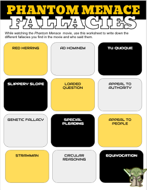 Phantom Menace Movie Fallacies Worksheet