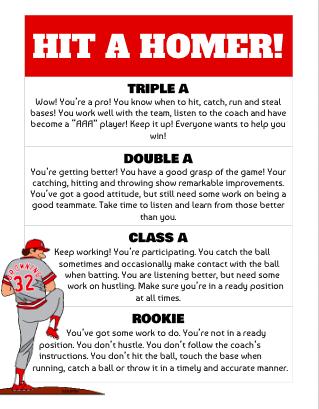Baseball Performance Rubric