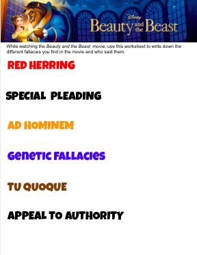 Beauty and the Beast Movie Fallacies Worksheet