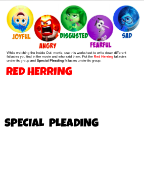 Inside Out Movie Fallacies Worksheet