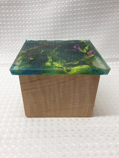 """Small Lift Lid Box """"Pink, Blue, Yellow, Green Swirl"""""""