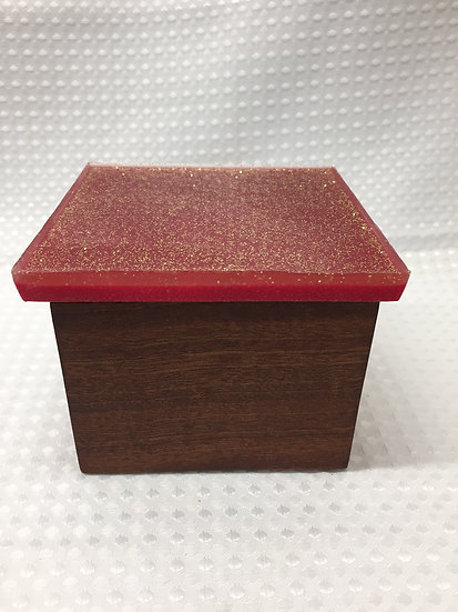 """Small Lift Lid Box """"Red Gold Sparkle"""""""