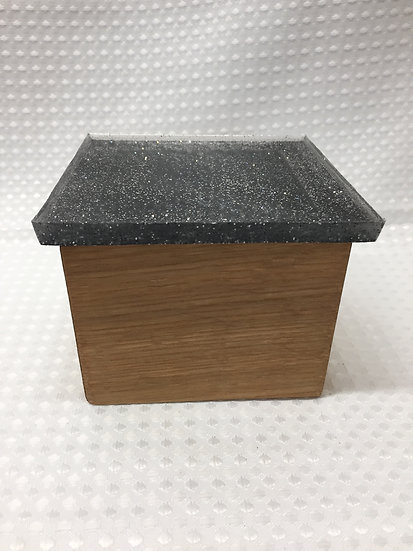 """Small Lift Lid Box """"Clear with Black and Silver Sparkle"""""""