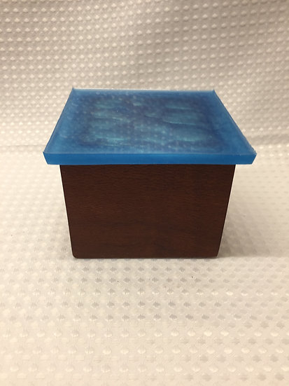 "Small Lift Lid Box ""Metallic Blue Sparkle"""