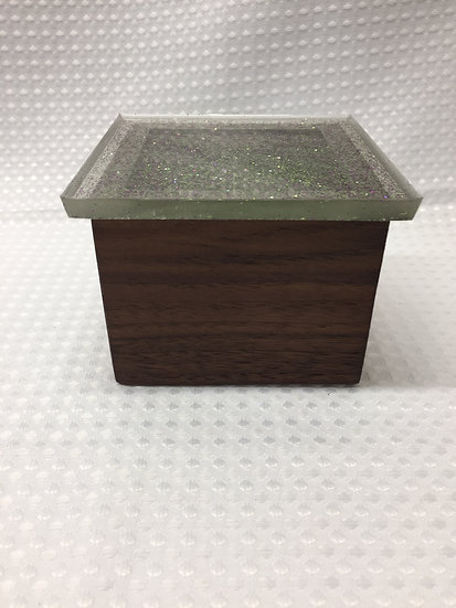 """Small Lift Lid Box """"Clear with Purple and Green Sparkle"""""""